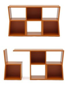 'TRICK'. A bookcase that transforms into a table and two chairs. Love.   Created by Sakura Adachi for Campeggi.