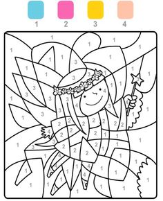 The fields with the number 1 are colored light blue, fields with the number 2 pink, those with the n Christmas Activities, Activities For Kids, Free Coloring, Coloring Pages, Number Crafts, Kindergarten Portfolio, Color By Numbers, Color Magic, Quotes Deep Feelings