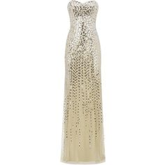 Jovani Embellished Strapless Gown ($1,050) ❤ liked on Polyvore featuring dresses, gowns, long dresses, vestidos, vestidos largos, beaded gown, strapless dresses, long beaded dress and beaded evening gowns
