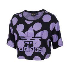 Women's adidas Dear Baes Crop T-Shirt featuring polyvore, fashion, clothing, tops, t-shirts, crop tops, purple, slim t shirts, polka dot tee, adidas tee, crop t shirt and crop tee