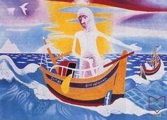 Somogyi Győző: Jézus lecsendesíti a tengert, 1984 Art Painting, Disney Characters, Painting, Modern Art Paintings, Art, Character