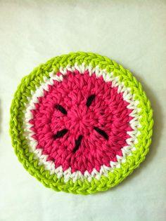 Crochet Watermelon Coasters - 20 Crochet Kid's Craft – Free Pattern Crochet Home, Cute Crochet, Crochet For Kids, Craft Free, Crochet Projects, Crochet Tutorials, Knitting Projects, Art Projects, Crochet Patterns Amigurumi
