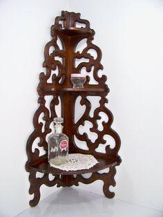 Antique Scrolled Wood Corner Shelf