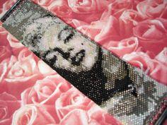 SALE Marilyn Monroe Seed Bead Photo Bracelet by PinkPoochDesigns