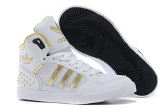 424059254e Adidas Original High Tops Womens Trainers White Gold M22886 Running shoes  Nike Hi Tops, Adidas