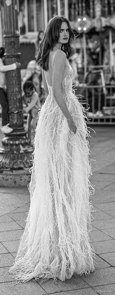 liz martinez 2018 bridal sheer strap sweetheart neckline full embellishment feathers romantic soft a  line wedding dress open scoop back sweep train (9) bv -- Liz Martinez 2018 Wedding Dresses