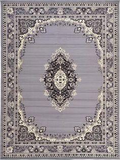 Gray Mashad Design Area Rug