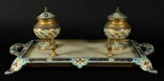 FRENCH CHAMPLEVE ENAMEL DORE BRONZE WITH ONYX INKWELL,