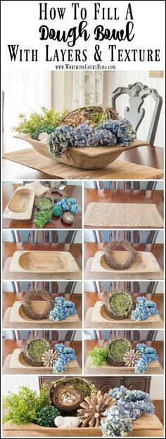 Step By Step Directions For Filling A Dough Bowl How to fill a large dough bowl with something besides candles or orbs. Step by step directions for how to fill it with layers and texture. Wooden Dough Bowl, Wooden Bowls, Dining Room Table, A Table, Country Decor, Rustic Decor, Farmhouse Style, Farmhouse Decor, City Farmhouse