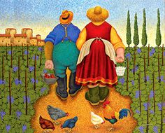 There goes David and Sarah.lol Folk Art by Lowell Herrero~ LOVE this! Illustrations, Illustration Art, Plus Size Art, Arte Country, Art Brut, Arte Popular, Naive Art, Renoir, Whimsical Art