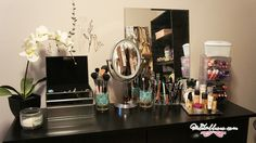 A neat and organised make up vanity for female college students