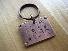 Copper Pet Id Tag  Unique Pet Id Tag  Hand by woowooworkshop, $18.50 - bought this for Olive, it looks GREAT! :)