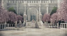 The White Castle of the White Queen. #Alice in Wonderland, #Movie, #Tim Burton, White marble interior, with pink and green cherry blossom trees.