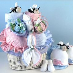 Babies In Bloom Twins Baby Gift Basket