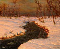 Ivan Fedorovich Choultsé (Russian, 1877-1932), Снежный пейзаж с рекой на закате [Snow Landscape with a River at Sunset], n.d. Oil on canvas,  38 x 46.5 cm.