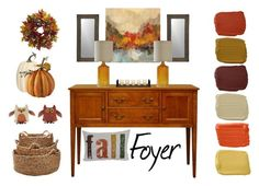 """Fall Foyer"" by countryside-amish-furniture ❤ liked on Polyvore featuring interior, interiors, interior design, home, home decor, interior decorating, Woof & Poof, Ralph Lauren, Crate and Barrel and Harvest"