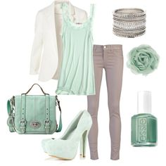 Super cute mint and ivory outfit