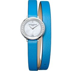 Baume & Mercier 10288 Petite Promesse leather and diamond watch ($2,270) ❤ liked on Polyvore featuring jewelry, watches, wrap watches, leather-strap watches, diamond wrist watch, diamond watches and sparkle jewelry