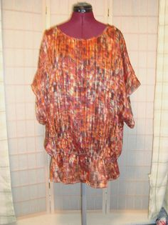 Belks Madison Sz 3X Orange & Black Shimmer Semi Sheer Batwing Top W/ Tank Set #Madison #PeasantwithTank