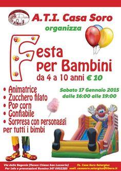 FESTA PER BAMBINI – CASA SORO – SELARGIUS – SABATO 17 GENNAIO 2015