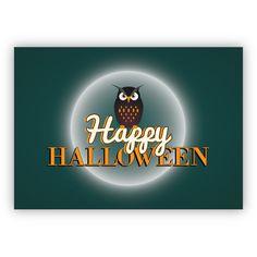 Finstere Halloween Karte mit Eule: Happy Halloween 1
