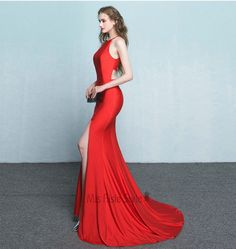 Sexy Mermaid Halter Neckline Slit Red Prom Dress 2017