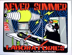 Never Summer Laboratories snowboard poster from 2000 by Lindsey Kuhn
