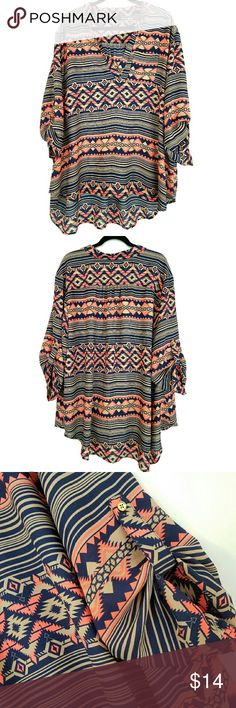 "Rue 3X Southwestern Print Top This Rue 3X Southwestern Print Top is in great used condition. Bust measures 29.5"" across laying flat, measured from pit to pit, so 59"" around. No stretch. Front is 29"" long. ::: Bundle and save! ::: No trades. Rue 21 Tops"