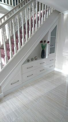 55 Genius Under Stairs Storage Ideas For Minimalist Home. Many of us live in houses that have an open area underneath the stairs. Staircase Storage, Staircase Design, Under Stair Storage, Open Staircase, Foyer Storage, Stair Design, Office Storage, House Stairs, Carpet Stairs