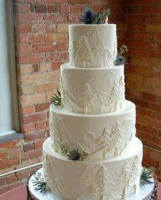 Winter Wedding Cakes that Wow - Rustic Wedding Cakes - Hochzeit Themed Wedding Cakes, Wedding Cake Rustic, White Wedding Cakes, Unique Wedding Cakes, Beautiful Wedding Cakes, Wedding Cake Designs, Wedding Themes, Beautiful Cakes, Unique Weddings