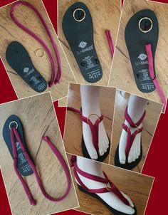 A simple SunSmiles creation, but very fancy too! A simple SunSmiles creation, but very fancy too! Flip Flops Diy, Flip Flop Craft, Crochet Flip Flops, Red Sandals, Lace Up Sandals, Bare Foot Sandals, Crochet Sandals, Crochet Shoes, Homemade Shoes