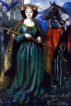 And right as Arthur was on horseback there came a damosel from Morgan le Fay, and brought unto Sir Arthur a sword like unto Excalibur, and the scabbard, and said unto Arthur, Morgan le Fay sendeth here your sword for great love. Uit Le Morte d'Arthur van Sir Thomas Malory.