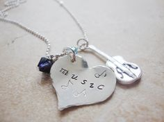 my style pinboard Love of music handstamped silver heart with guitar by Lolasjewels, $24.00