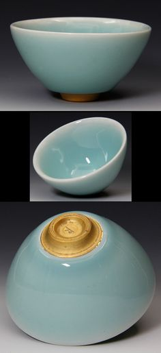 Ichiro Takeshi Ishiguro celadon bowl...I love the shape of the foot in relation to the whole piece