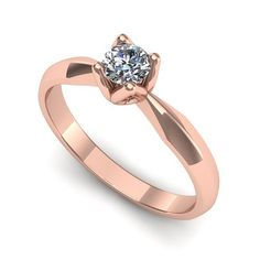 Inelul este realizat din aur roz 14k, greutate: ~2.20gr. Produsul are in componenta sa: 1 x diamant, dimensiune: ~3.40mm, greutate: 0.15ct , culoare: G, claritate: VS2, forma: round