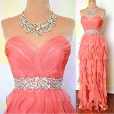 coral prom dresses, high low prom dress, sexy prom dresses, organza prom…