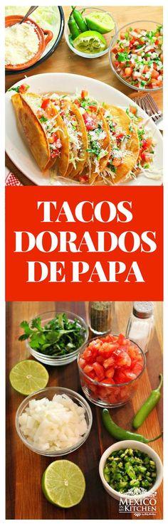 Los Tacos Dorados de Papa es uno platillo muy popular que tanto a niños como adultos les encantan. No necesitas muchos ingredientes para prepararlos, e incluso puedes prepararlos con anticipación y sólo calentarlos en el horno.#mexico #receta #tacos