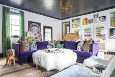 Purple sofas living rooms ultra purple sofa in colorful living room purple couch living room ideas . Cozy Eclectic Living Room, Colourful Living Room, Eclectic Decor, Living Room Decor, Living Rooms, Eclectic Furniture, Eclectic Style, Estilo Hollywood Regency, Lila Sofa