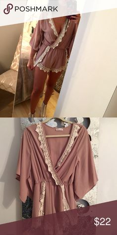 Blush colored Romper This romper is a blush toned color with off-white detailing in size Medium but would also fit someone who wears size small.  The sleeves fall 3 quarters length and the material is light and flowy.  Looks adorable on! Shorts