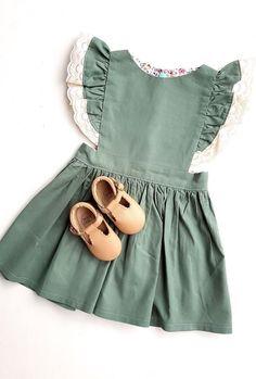 Handmade Sage Pinafore Dress | OakandtheLittleFolk on Etsy #toddlerstyle
