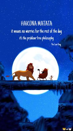 hakuna matata it means no worries quotes, the lion king, Cute Disney Quotes, Cute Disney Pictures, Disney Images, Cute Quotes, Disney Art, Disney Pixar, Puppy Wallpaper Iphone, Hd Wallpaper Quotes, Hakuna Matata Quotes