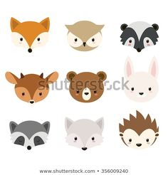 Cute woodland animals collection Animals heads isolated on white background Stock Vector Woodland Critters, Woodland Theme, Woodland Baby, Woodland Creatures, Woodland Animals, Animal Heads, Animal Faces, Baby Shower Cookies, Baby Cookies