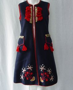 Vtg Krakow Poland Folk Costume Vest Ethnic Embroidered Tassels