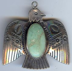 VINTAGE NAVAJO INDIAN STERLING SILVER TURQUOISE THUNDERBIRD PENDANT