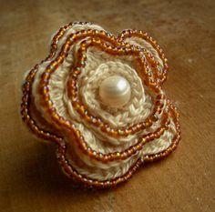 Beaded Ivory Crochet Flower Ring With Fresh ♡ by CatalinaInspired Crochet Rings, Hand Crochet, Knit Crochet, Amber Beads, Beautiful Crochet, Yarn Colors, Crochet Flowers, Crochet Patterns, Ivory