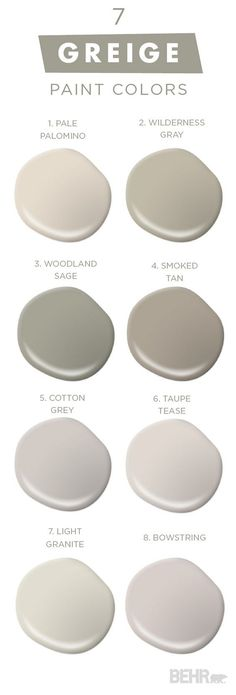7 Greige Paint Colors. Greige Best Seller Paint Colors by Behr. Behr Pale Palomino. Behr Wilderness Gray. Behr Woodland Sage. Behr Smoked Tan. Behr Cotton Grey. Behr Taupe Tease. Behr Light Granite. Behr Bowstring #BehrPalePalomino #BehrWildernessGray #BehrWoodlandSage #BehrSmokedTan #BehrCottonGrey #BehrTaupeTease #BehrLightGranite #BehrBowstring #7GreigePaintColors #GreigePaintColor #GreigeBestSellers #GreigePaintColorBestSellers #BehrPaintColors Via Behr
