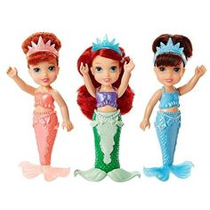 Disney Princess Petite Toddler Ariel & Sisters Gift Set by Tolly Tots: Includes 3 Petite Tddler Dolls, 3 Tiaras, 1 skirt for Ariel. The Little Mermaid Sisters, Little Mermaid Gifts, Ariels Sisters, Disney Princess Set, New Disney Princesses, Disney Dolls, Princess Fairytale, Lol Dolls, Barbie Dolls