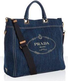 Prada blue denim logo print tote bag ~ must have!