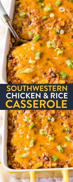 Southwestern Chicken and Rice Casserole. This cheesy bake has rice, black beans and chicken. It's easy to make as a vegetarian recipe too! An easy dinner that makes delicious leftovers. via @RandaDerkson