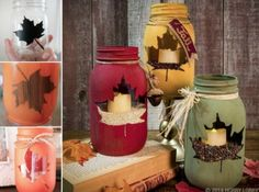Fall mason jar crafts - 25 fall craft ideas using mason jars. Mason jar crafts for fall. Kids craft idea for fall. Fall decor using mason jars. Painted Mason Jars, Mason Jar Diy, Mason Jar Crafts, Fall Mason Jars, Diy Decoupage Mason Jars, Coffee Jar Crafts, Mason Jar Painting, Christmas Mason Jars, Autumn Crafts